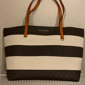 Michae Kors Large Straw Canvas EW Tote